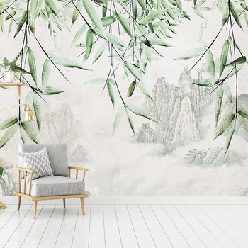 Custom Mural Wallpaper Wall Art New Chinese Style Ink Mountain Water Bamboo Study Living Room Bedroom Background Painting