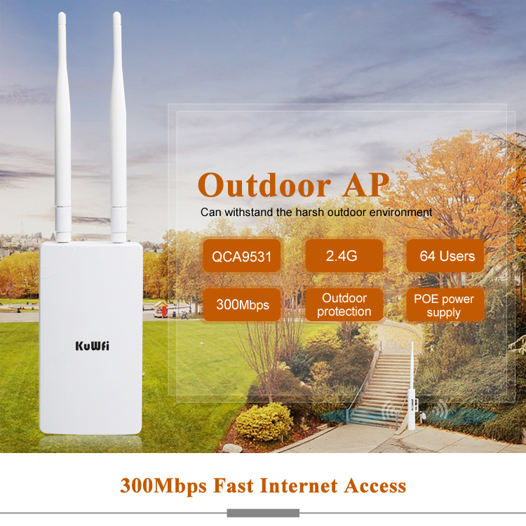 KuWFi 300Mbps Wireless Router Coverage 1-2km Wireless Outdoor CPE Router&Wifi Repeater Network Bridge Access Point With 48V POE