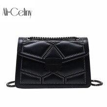 Брендовая Оригинальная дизайнерская ручная женская сумка, текстура, заклепки, цепь, одиночная антиклинальная сумка с маленьким квадратным замком, сумка