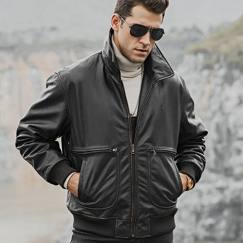 2020 Genuine Leather Jacket Men Cow Leather Jacket Vintage Autumn Winter Leather Jackets For Mens Clothing Casaco 179 YY768