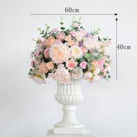 60cm table flower ball wedding centerpiece Roman flower pot wedding backdrop decor party road lead wall hotel silk flowers