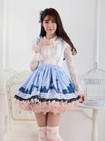 Princess sweet lolita skirts Originally Pink Blue Modern Urban Belt Lolita Princess Pleated Lace short Skirt women GZWY220