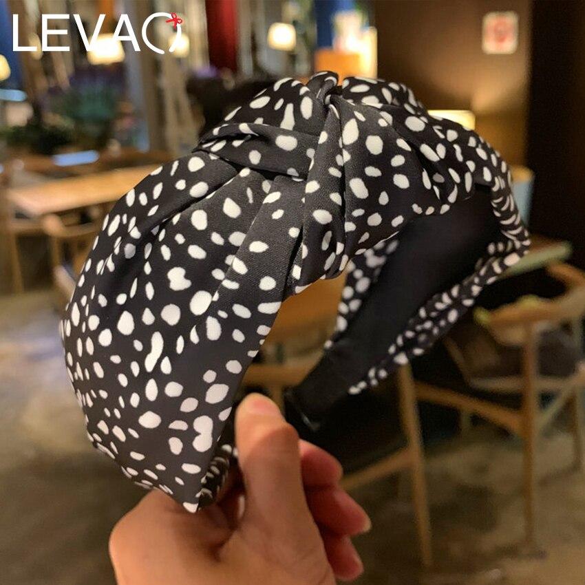 Levao New 2019 Women Cross Knot Headband Irregular Dot Print Knotted Hairband For Girls Hair Hoop Bands Head Bezel Hair Ornament