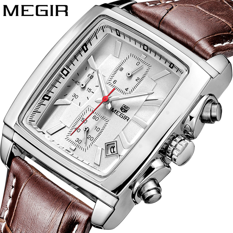 MEGIR Brand Men's Watch Multi-function Sports Leather Strap Rectangular Dial Men Watches Luminous Reloj Hombre Clock