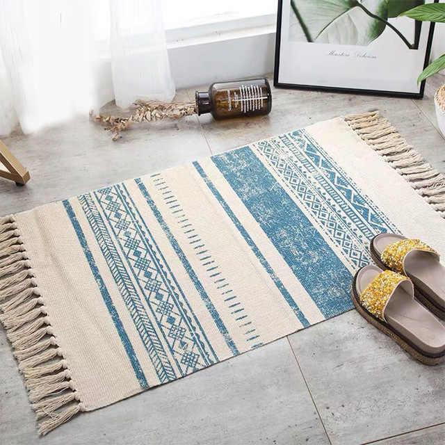 Iskandinav pamuk paspaslar etnik halı bohemian halı oturma odası kapı paspasları kaymaz paspaslar dekoratif zemin halısı kapı yatak odası halı