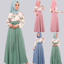 Islamic Clothing hijab Dresses Muslim Women Fake Two piece Print Floral Bow abaya Dress Dubai Arab big swing A line Maxi Dress