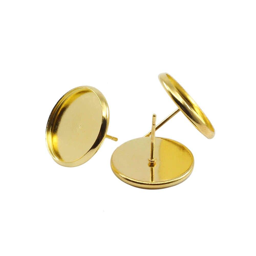 50 Pcs Stainless Besi Kosong Anting-Anting Dasar Cabochon Cameo Dasar 8 10 12 14 16 Mm Flat Anting-Anting Pengaturan Perlengkapan untuk Membuat Perhiasan
