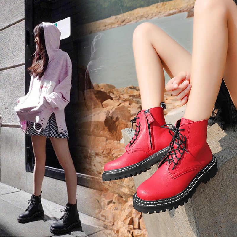 AIYUQI 2020 kadın ayakkabı bahar kadın Martin çizmeler yuvarlak kafa dantel-up İngiliz tarzı kadın çizmeler kırmızı öğrenci ayakkabı
