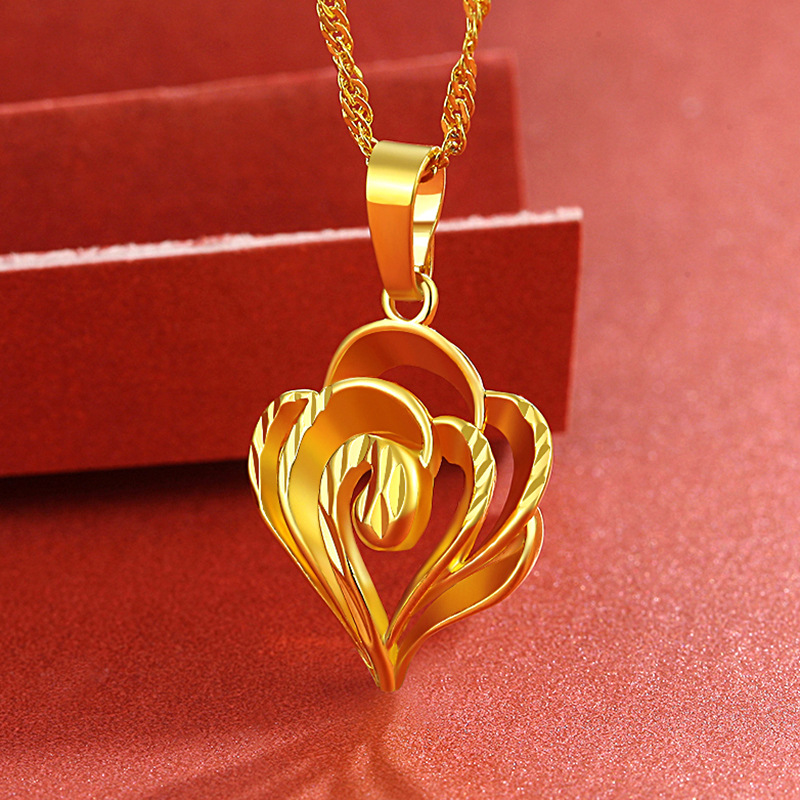 Gold Color Necklace Pendant For Women Female Gold Heart Jewelry New 2021 With Chain