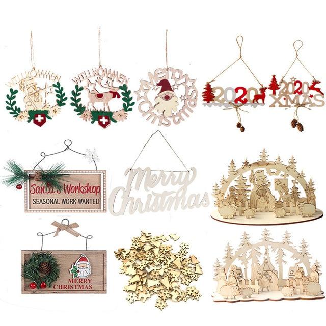 Christmas Decoracion Wooden Ornaments Santa Claus Tree Hanging Ornaments Xmas Navidad Decor Christmas Decorations for Home Noel 5