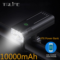 10000mAh 6 * T6 luce per bici USB ricaricabile LED luce per bicicletta IPX5 faro impermeabile MTB torcia lampada frontale come power bank
