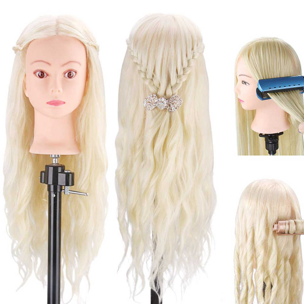 "Maniquí de cabello rubio humano 70% Real 24 ""cosmetología práctica de peluquería peinado maniquí muñeca soporte de cabeza rizo"