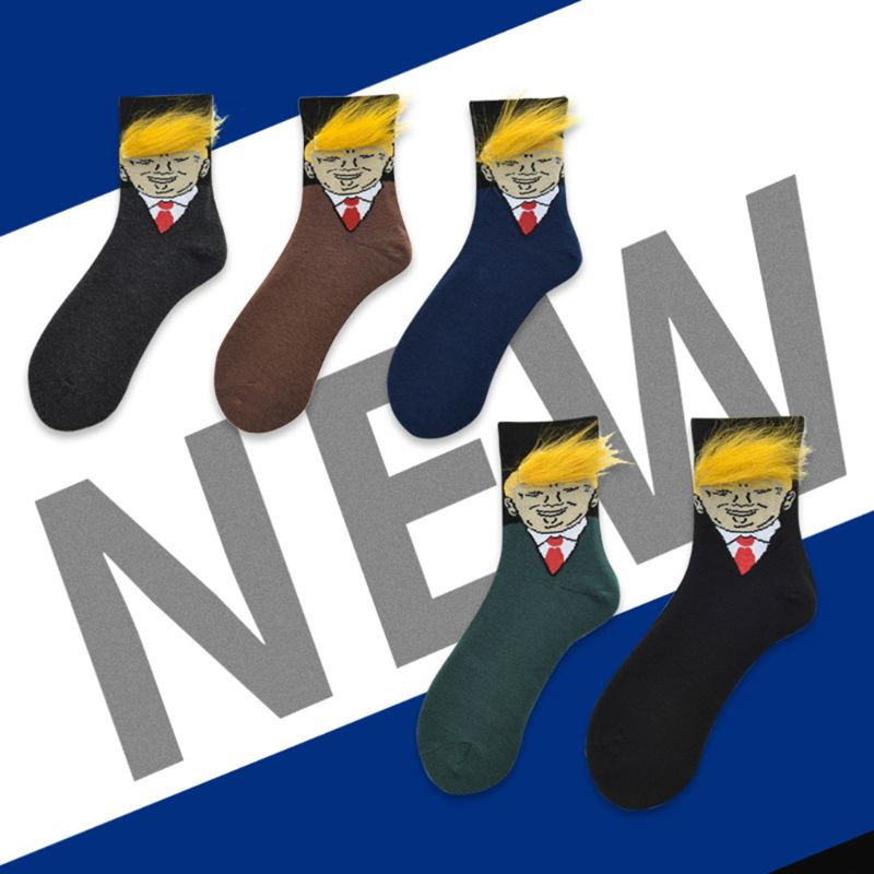 Unisex Funny American President Portraits Crew Socks With Realistic Yellow Hair