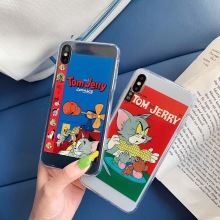 Cute Funny Pattern Cartoon Tom Jerry Phone Case For iPhone Xs MAX Xr X 6 6s 7 8 plus Animal Cat Mouse clear soft TPU back cover