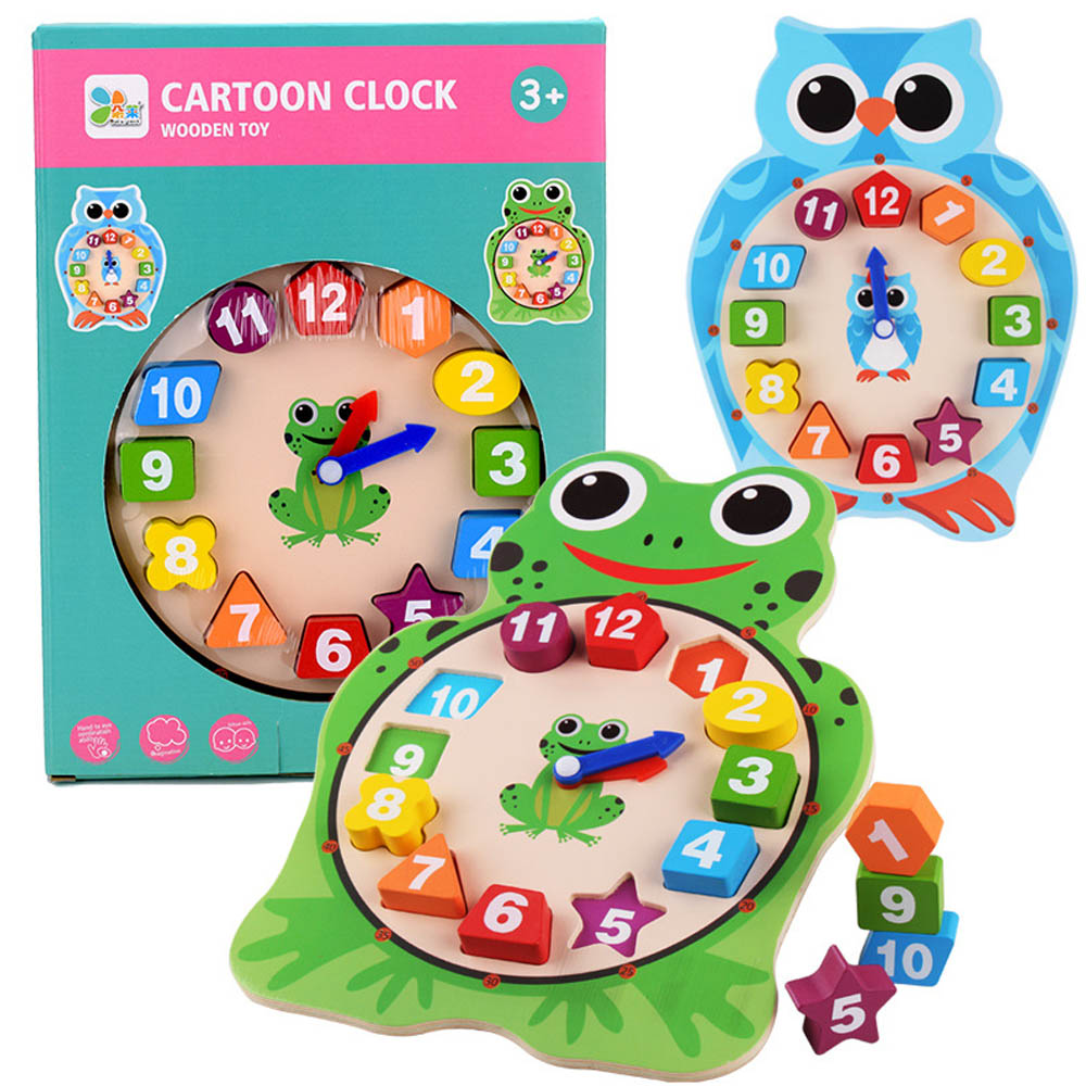 Kids Wooden Clock Toys Children Time Cognition Education Toys Number Shape Color Learning Tool For Baby Kids