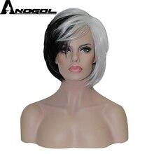 Anogol真新しいcruella devilleサイド前髪ハーフ白黒層状合成女性パーティーハロウィン + かつらキャップ