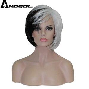 Image 1 - Anogol yepyeni Cruella Deville yan patlama yarım beyaz siyah katmanlı sentetik Cosplay peruk kadınlar için parti cadılar bayramı + peruk kap