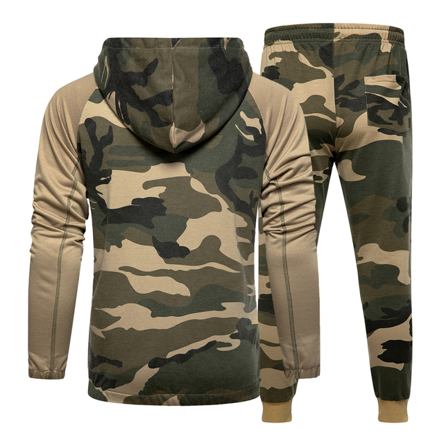 Camo Men Tracksuit Hooded Outerwear Hoodie Set 2 Pieces Autumn Sporting Male Fitness Camouflage Sweatshirts Jacket + Pants Sets