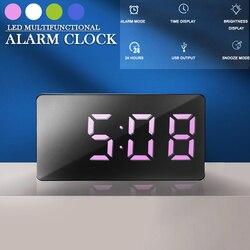 7*4 см мини Настольный Будильник цифровой рекламный щит LED большой Дисплей Спальня Повтор таймер умный дом электронные настольные часы USB пос...