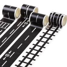 Eco Friendly Black White Washi Tape Adhesive Railway Pape Tapes,wide Stationery Sticky Washi Road For Kids Traffic Tape Toy E9C5(China)