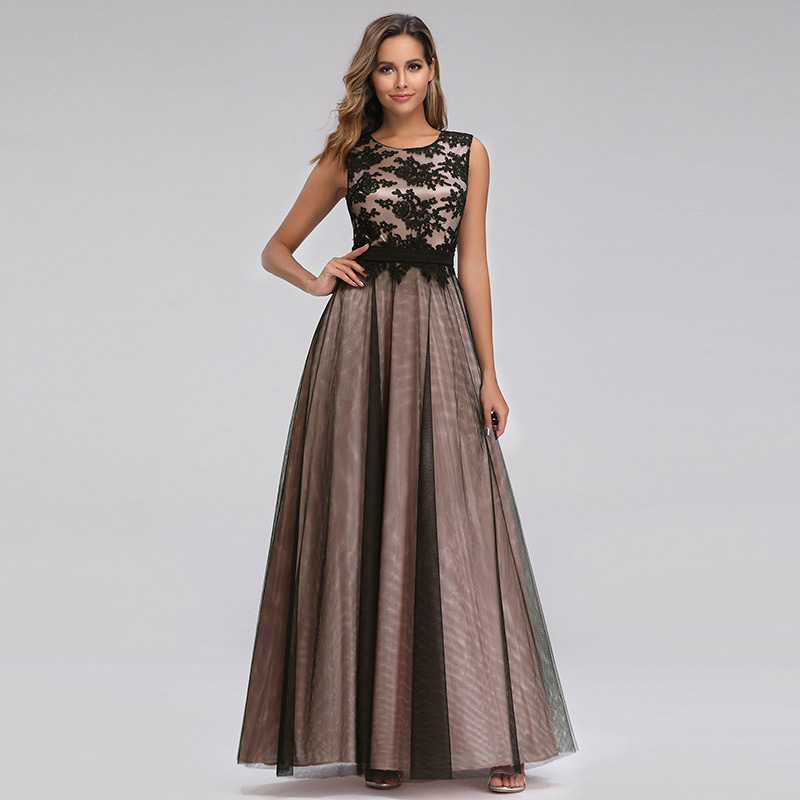 Evening Dresses A-line Floor-length Scoop Lace Appliques Sleeveless Wedding Guest Party Gowns Cheap Long Prom Dress