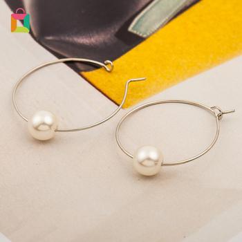 Minimalistyczne kolczyki kolczyki Retro prosta geometryczna perła kolczyki modne kolczyki kobiety biżuteria prezenty Glittery tanie i dobre opinie Ze stopu cynku 2 5cm TRENDY ROUND Pearl Symulowane perłowej J8750
