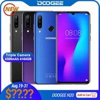 Doogee n20 스마트 폰 4 gb + 64 gb 6.3 ''물방울 스크린 16mp + 16mp + 8mp + 8mp 안드로이드 9.0 mtk6763v octa 듀얼 4g 4350 mah 휴대 전화