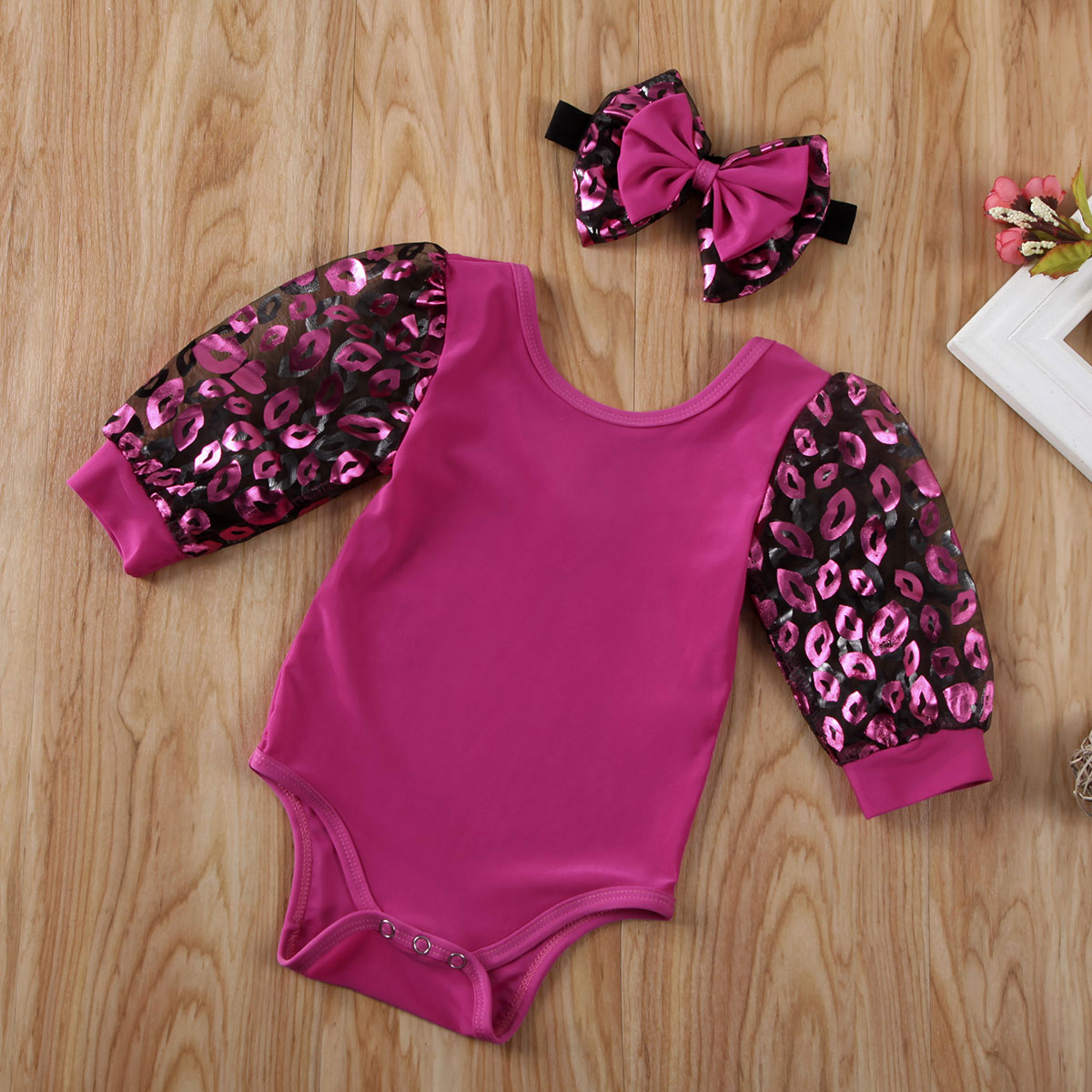 Pudcoco Newborn Baby Girl Clothes Lips Print Puff Tulle Long Sleeve Romper Jumpsuit Headband 2Pcs Outfits Clothes