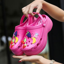 MWY High Heeled Clogs Sandals Female Summer Beach Women Thick Bottom Shoes 6CM Wedge Platform Increased Shoes Zapatos Mujer