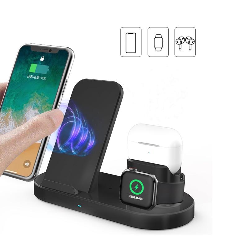 15W Magsafe Беспроводное зарядное устройство для быстрой зарядки с подставкой 3in1 для iPhone 12 11 XS Max x 8 плюс аэропортов Pro Apple Watch 6 5 4 3 Зарядный кронште...