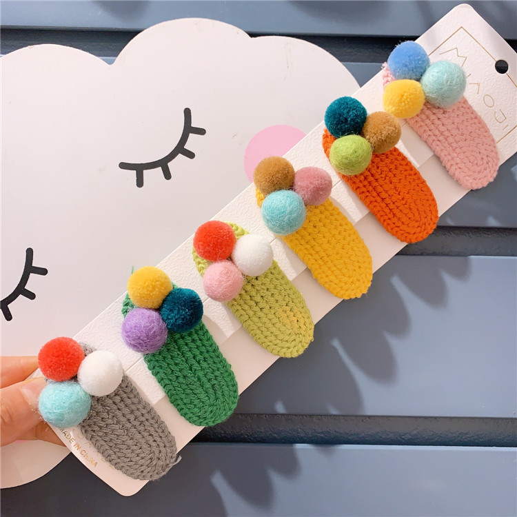 Spring New Children's Candy Color Plush Ball Splicing Wool Knitting Hairpin Ins Girl Bb Hair Pin Accesorios Hair Clip
