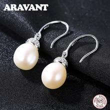 925 Sterling Silver Jewelry Zircon Natural Pearls Earrings Women Fashion Round Pearl Drop Earrings недорого