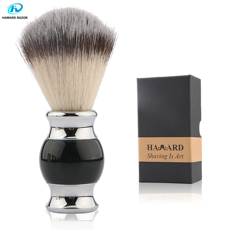 HAWARD Professional Synthetic Hair Shaving Brush Metal And Resin Handle Comfortable Shaving Brush Men's Beard Brush Facial Clean