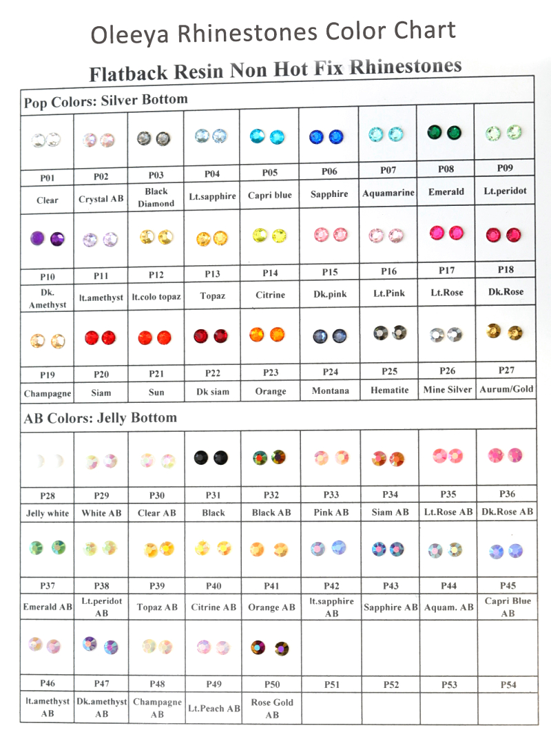 Color Chart of Resin Non hot fix rhinestones