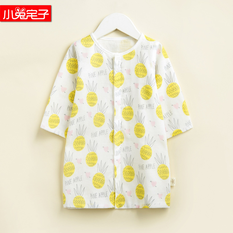 Baby Spring And Summer Pure Cotton Gauze Nightgown Pajamas Thin Newborns Infant Cotton Bathrobe Nightgown