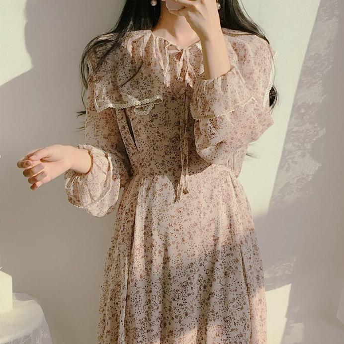 H8582d8c558434674a5dfcfa4ce1f2533q - Autumn Puritan Collar Long Sleeves Chiffon Floral Print Lace-Up Slim Midi Dress