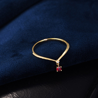 Aazuo Ins Trendy 18K Yellow Gold Natural Ruby Fashion Move Ring gifted for Women Midi Finger Au750