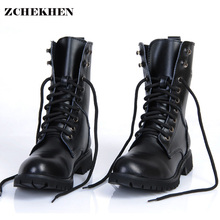 Genuine Leather Men Military Boots Men's Motorcycle Riding H