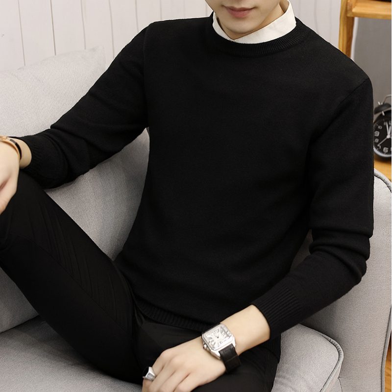 2020 Cotton Sweater Men Long Sleeve Pullovers Outwear Man O-Neck Sweaters Tops Loose Solid Fit Knitting Clothing 7 Colors New