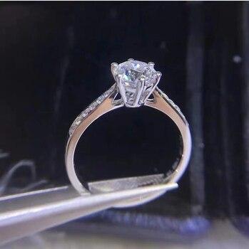 925 스털링 실버 6.5mm moissanite 실버 반지 파인 쥬얼리 라운드 컷 1ct ij 기념일 웨딩 다이아몬드 반지 여자 친구