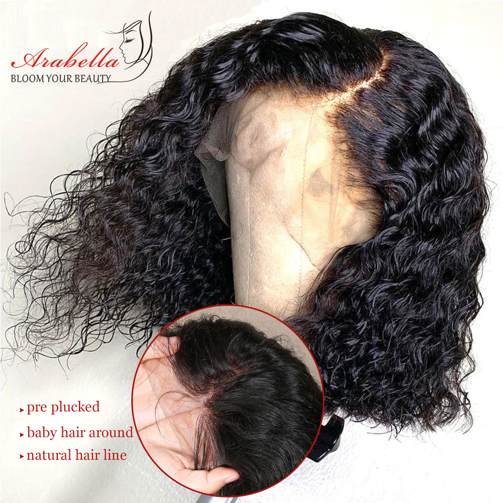 Water Wave Bob Wig Lace Front  Wigs Short Bob Wig  Pre Plucked Bleached Knots Wig Water Curly Bob Wig 2