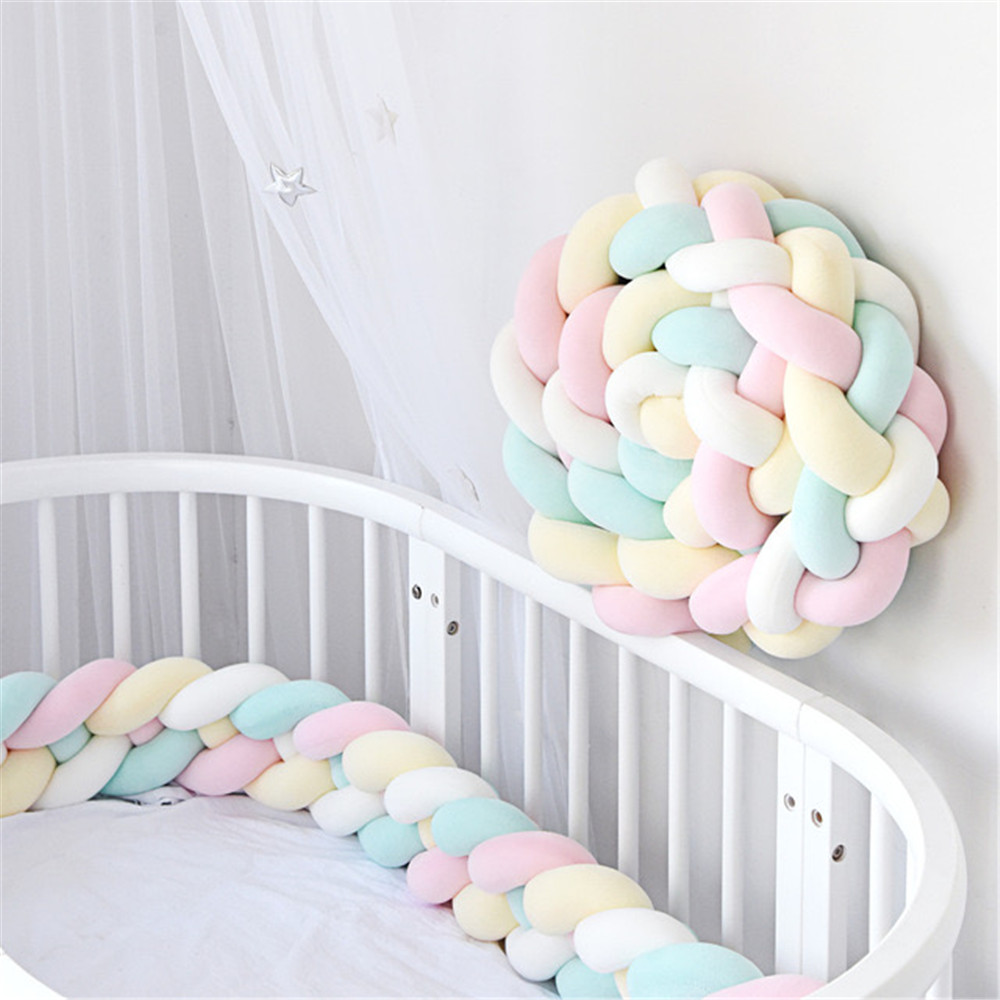 Baby Pillows Plush Knitted Knots Long Knotted Braid Pillows Cotton Knots Mats Decorated Baby Bumpers Cribs