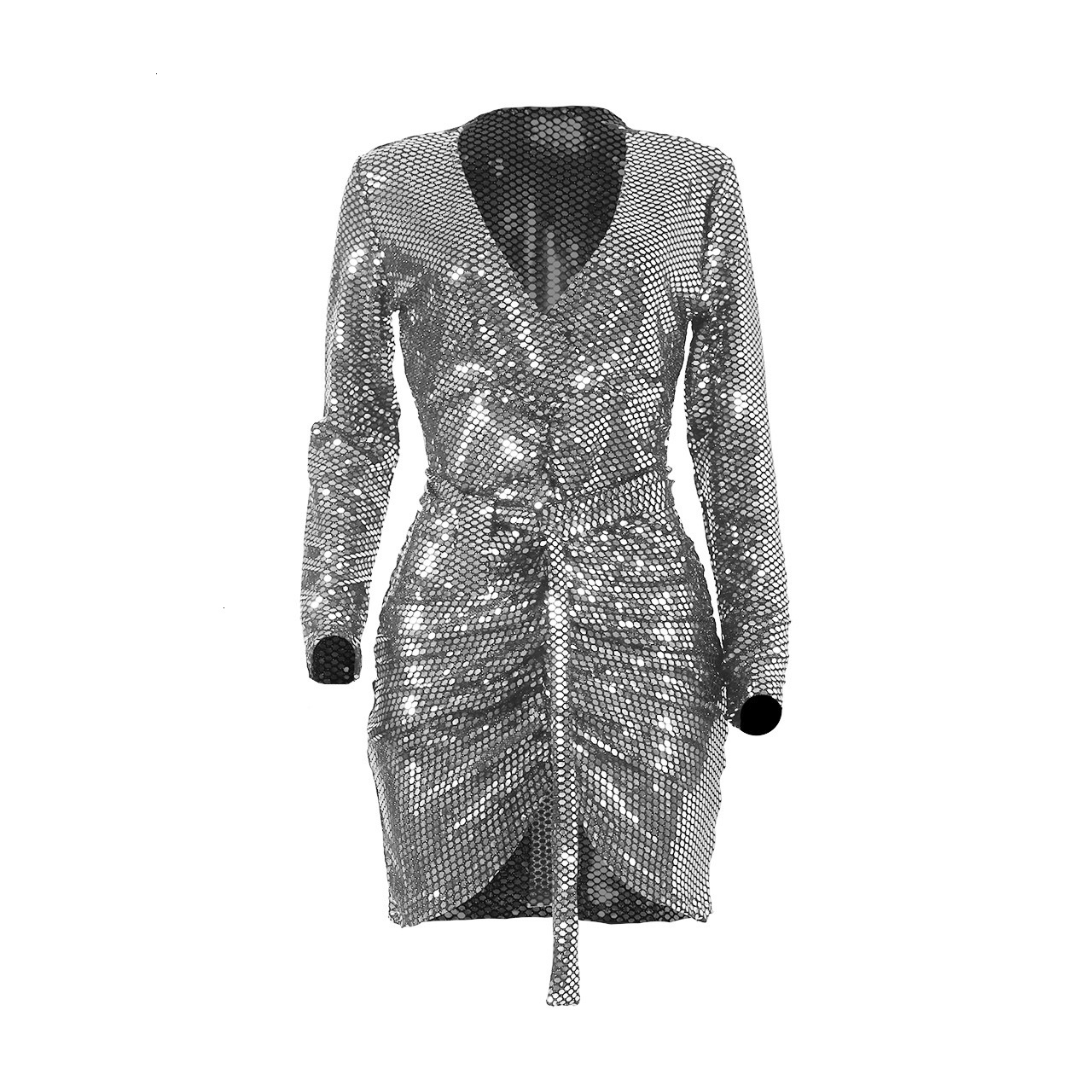Real Pictures Sexy V Neck Sequined Cocktail Dresses Long Sleeves Split Joint Short Women Dress For Cocktail Party Vestidos