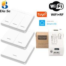 Wifi/rf 433mhzワイヤレスac 90 250vインタラプタと 1/2/3 ギャングプッシュボタンライトスイッチ、チュウヤで動作googleホームios/アンドロイド