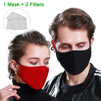 Tcare Fashion Cotton PM2.5 Face Mouth Mask with 2 Activated Carbon Filters for Men Women