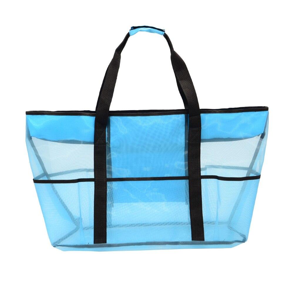 Grand sac de plage en maille bleu
