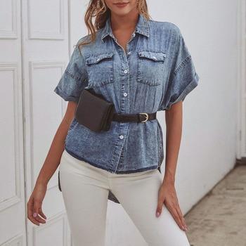 Retro Denim Blouse Fashion Pocket Short Sleeve Blouse Irregular Hem Loose Casual High Street Chic Womens Tops Leisure Blouses tassel hem blouse