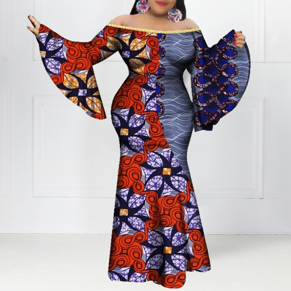 African Women Vintage Printed Party Dress