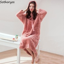 Women Nightgowns Sleepshirts Velvet Loose Korean Kawaii Warm Fashion Flannel Plus Chic