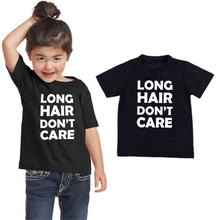 Kids Tshirt Tops Short-Sleeve Long-Hair Funny Printed Toddler Girls Children Casual Fashion